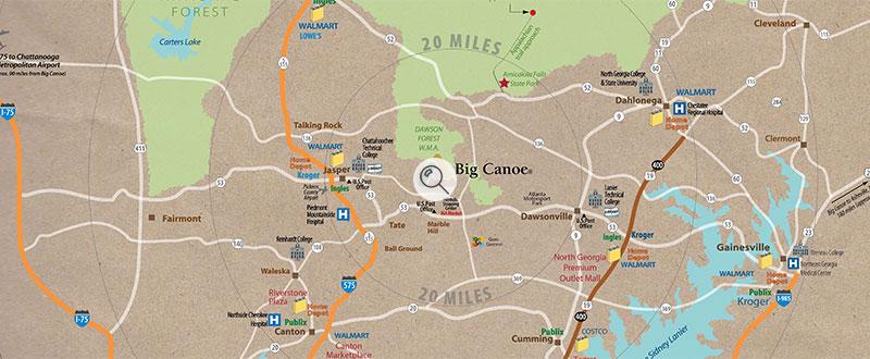 Big canoe radius map 800x330 search overlay big canoe for Big canoe