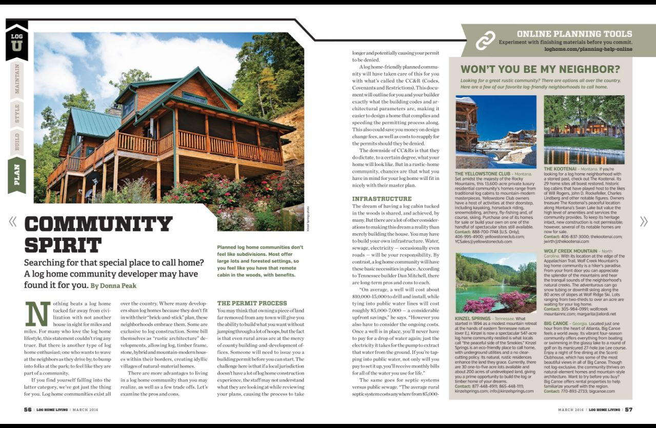 Log Home Living Mag - March 2016 BC Feature | Big Canoe